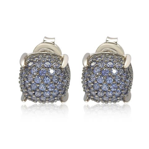 Suzy L. Sterling Silver Sapphire & Diamond Accent Pave Cluster Earrings