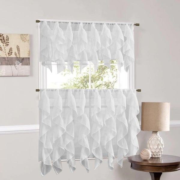 Sweet Home Collection White Vertical Ruffled Waterfall Valances and Curtain Tiers