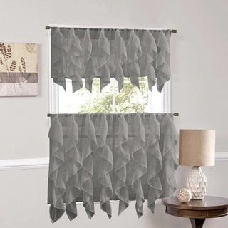 Sweet Home Collection Grey Vertical Ruffled Waterfall Valance and Curtain Tiers