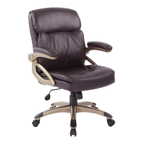 Work Smart Excutive Low Back Espresso Bonded Leather Chair with Cocoa Accents