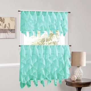 Vertical Ruffled Waterfall Window Curtain Pieces- Valance and Tiers Options (Sea)