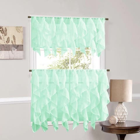 Sweet Home Collection Mint Vertical Ruffled Waterfall Valance and Curtain Tiers