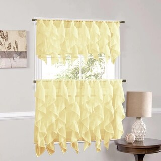 Vertical Ruffled Waterfall Window Curtain Pieces- Valance and Tiers Options (Maize)