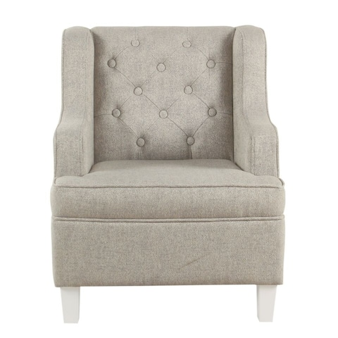 HomePop Kids Tufted Wingback Chair - Textured Stain Resistant Gray