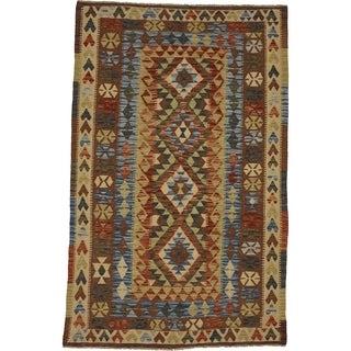 Hand Woven Kilim Maymana Wool Area Rug - 4' x 6' 2