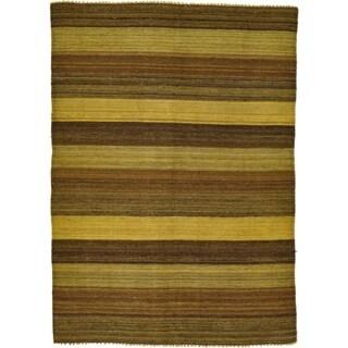 Hand Woven Kilim Afghan Wool Area Rug - 4' 1 x 5' 8