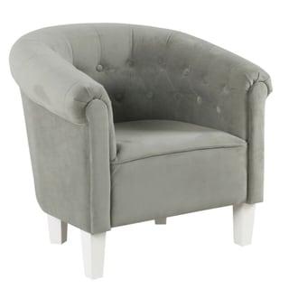HomePop Kids Tufted Barrel Chair - Gray Velvet