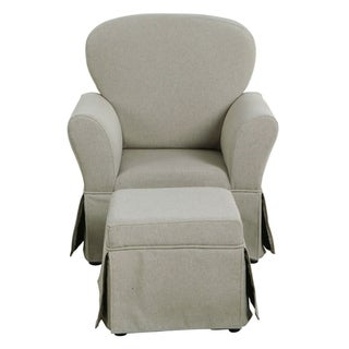 HomePop Kids Chair and Ottoman - Stain Resistant Gray Fabric