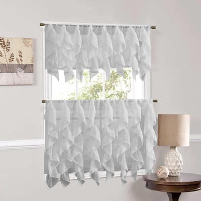 Sweet Home Collection Silver Vertical Ruffled Waterfall Valance and Curtain Tiers