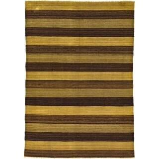 Hand Woven Kilim Afghan Wool Area Rug - 4' 1 x 5' 10
