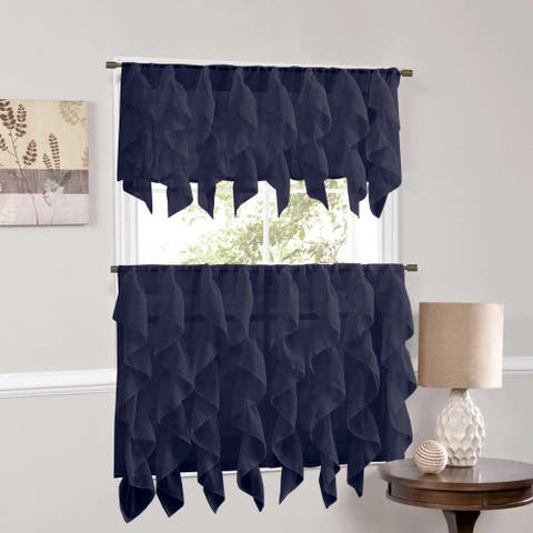Sweet Home Collection Navy Vertical Ruffled Waterfall Valance and Curtain Tiers