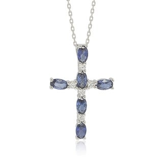 Suzy Levian Sterling Silver Sapphire and Diamond Accent Cross Pendant