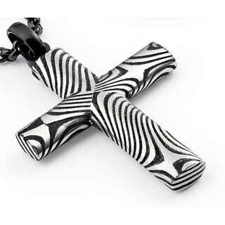 "Oliveti Black Oxidized Damascus Steel Cross Pendant Necklace Free Black 24"" Rolo Chain"