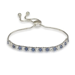 Link to Suzy L. Sterling Silver Sapphire and Diamond Accent Adjustable Bolo Tennis Bracelet Similar Items in Bracelets