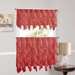 Sweet Home Collection Burgundy Vertical Ruffled Waterfall Valance and Curtain Tiers