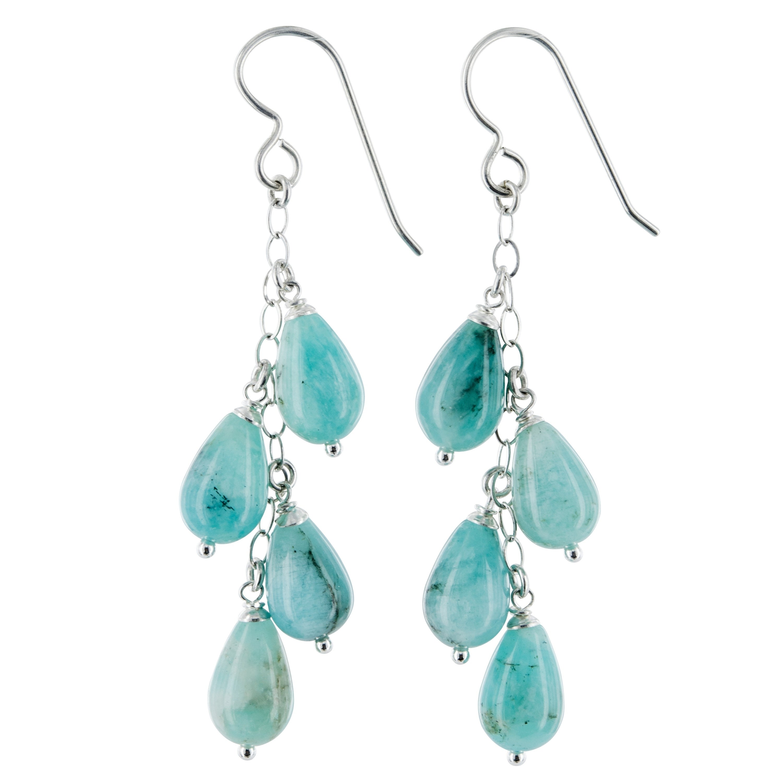 Amazonite Gemstone Chandelier Silver Earrings
