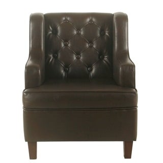 HomePop Kids Tufted Wingback Chair - Brown Faux Leather