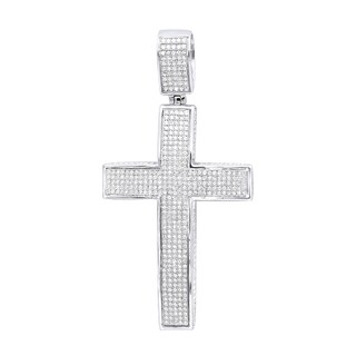 Mens Large Iced Out Diamond Cross Pendant in 14k Gold Side Diamonds 2.5ctw & Chain by Luxurman