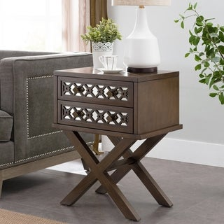 Mirrored Diamond Filigree X Base 2 Drawer Nightstand Table