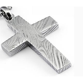 "Oliveti Damascus Steel Cross Pendant Necklace Free 24"" Round Box Chain"