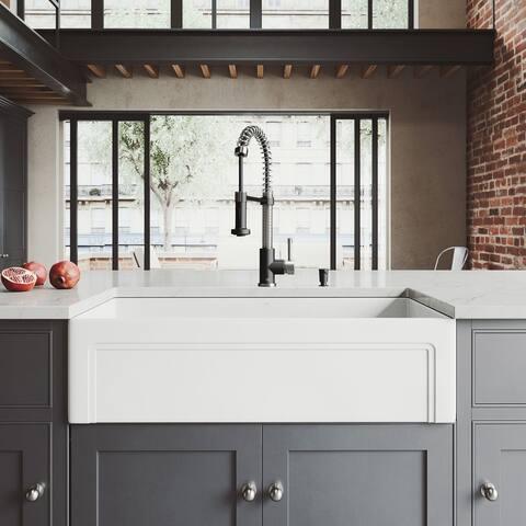 VIGO Matte Stone Farmhouse Kitchen Sink Set with Edison Faucet