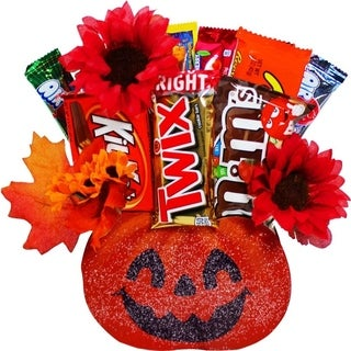 Halloween Pumpkin Full Size Candy Bar Bouquet Gift