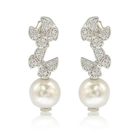 Suzy Levian Sterling Silver Pearl and White Sapphire Butterfly Earrings