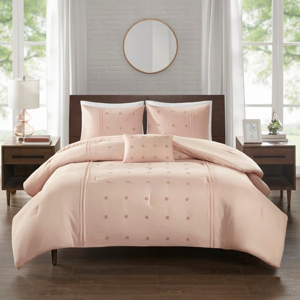 510 Design Nadean 4 Piece Dot Embroidered Comforter Set 2-Color Option