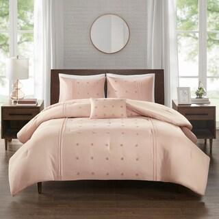 510 Design Nadean 4 Piece Dot Embroidered Comforter Set 2-Color Option