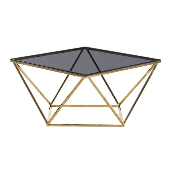 Best Master Furniture Smoked Glass and Goldtone Stainless Steel Square Coffee Table