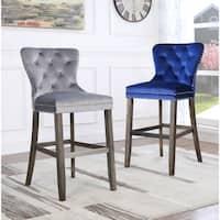 Best Quality Furniture Tufted Velvet Barstools (Set of 2)