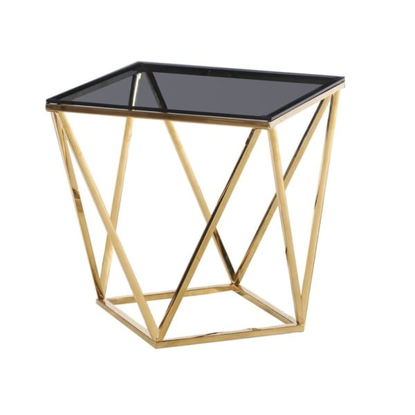 Best Master Furniture Smoked Glass and Goldtone Stainless Steel Square End Table