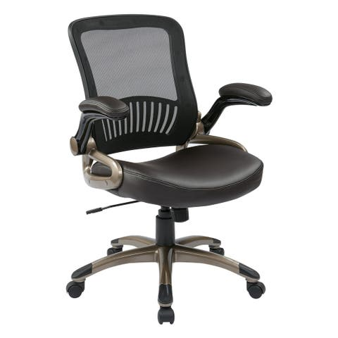 Screen Back Espresso Bonded Leather Seat Office Chair