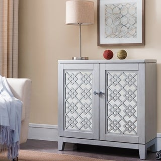 Mirrored Diamond Filigree X Base Adjustable Shelf Entryway Table