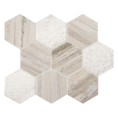 Natural Stone Limestone 2X6 Split Face Mosaic Arctic Grey - 12 x 15.25