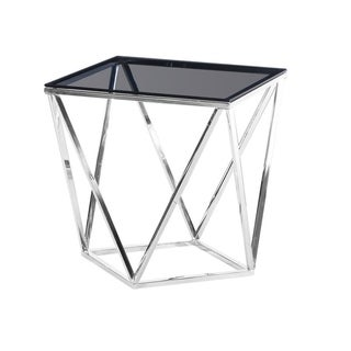 Best Master Furniture Smoked Glass Silver Square End Table