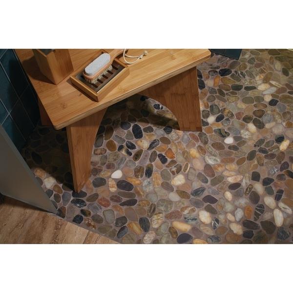 Pebble Mosaic Tile in Creamy Sand - 12.125 x 12.125
