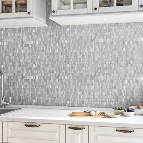 Natural Stone Marble 1XRandom Mosaic Carrara White - 12 x 12.75