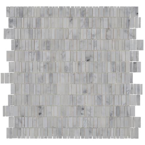 "Natural Stone Marble 2"" HEX Mosaic Polished Carrara White - 13 x 12.75"