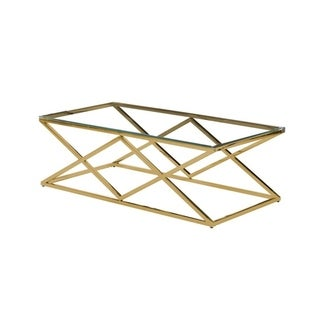 Best Master Furniture Clear Glass Gold Rectangular Coffee Table