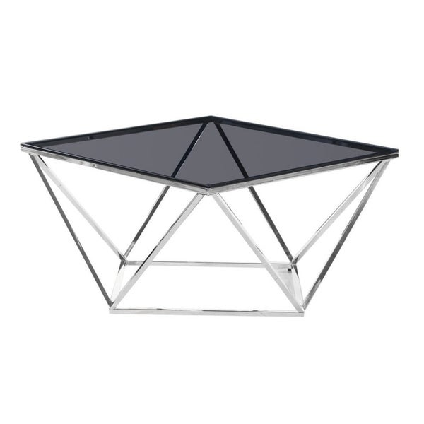 Glass And Silver Square Coffee Table: Shop Best Master Furniture Smoked Glass And Silver