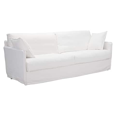 The Gray Barn Grizzly Way Ivory Cotton and Wood Slipcover Sofa