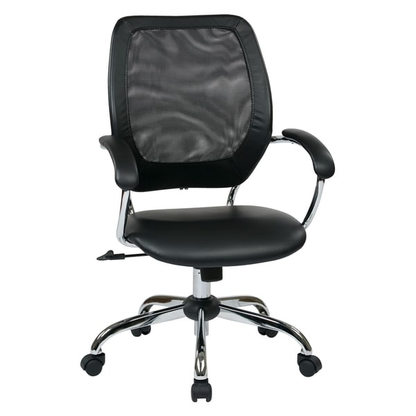 Designer Screen Back Office Chair with Black Faux Leather Seat and Chrome Base