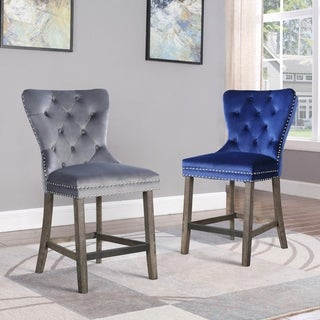 Best Quality Furniture Tufted Velvet Counter Chairs (Set of 2)