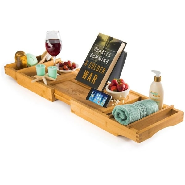 Bambusi Bathtub Caddy Tray with Book and Wine Holder Spa Relaxing Bath