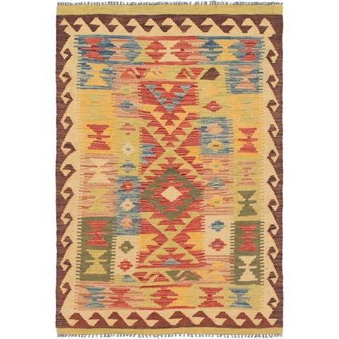 Hand Woven Kilim Maymana Wool Area Rug - 3' 5 x 5' 2