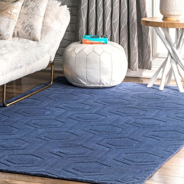 Nuloom Navy Hand Woven Wool Abstract Fancy Area Rug 7 X27