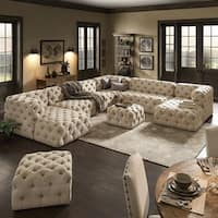 Knightsbridge II Beige Linen Tufted Chesterfield Modular U-Shape with Ottoman Chaise Sectional by iNSPIRE Q Artisan