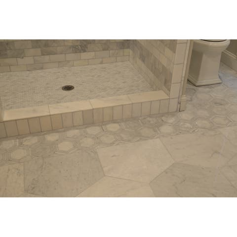 """Natural Stone Marble 6"""" HEX Mosaic Carrara White - 11.75 x 14.5"""