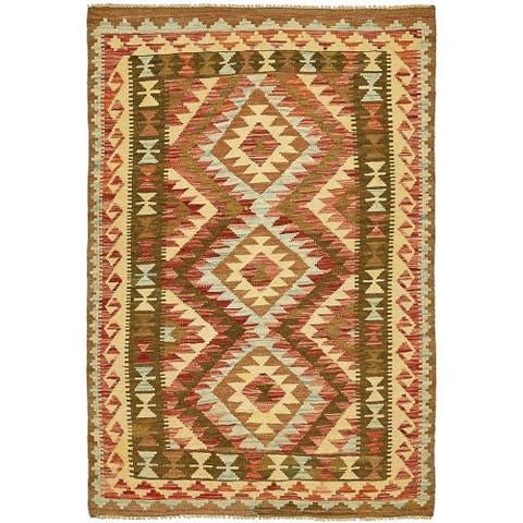 Hand Woven Kilim Maymana Wool Area Rug - 3' 3 x 4' 10